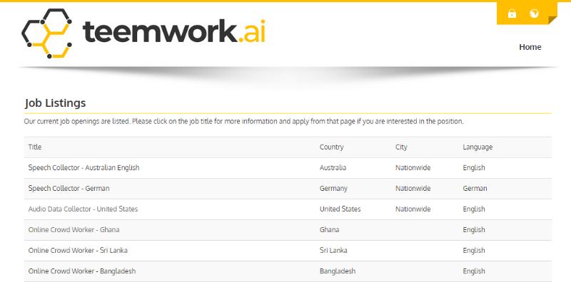 Teemwork AI micro jobs listings