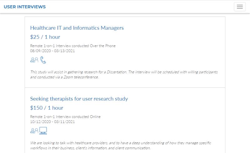 User Interviews paid reseearch studies