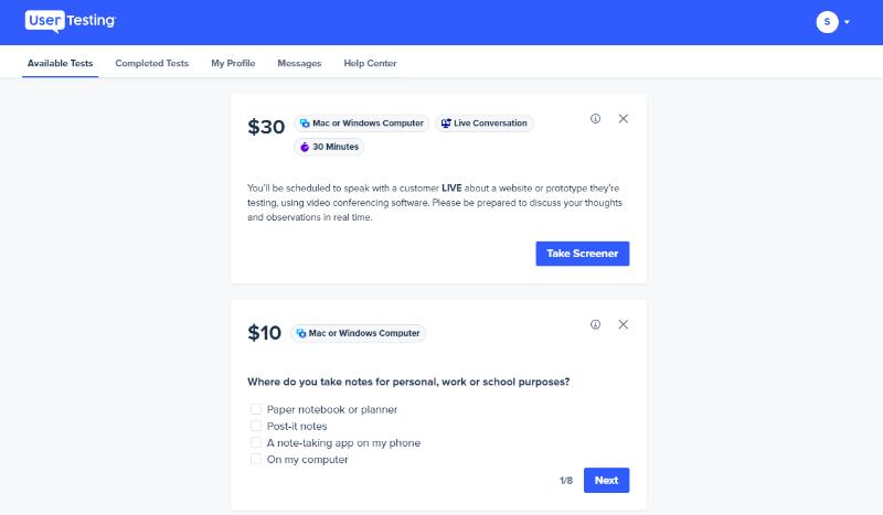 UserTesting micro tasks dashboard