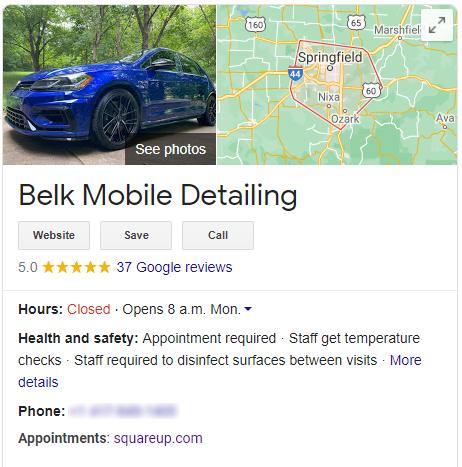 Belk Mobile Detailing Google My Business listing