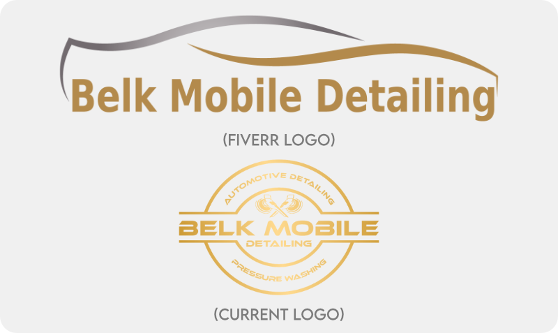 Belk Mobile Detailing first Fiverr logo compared to current logo