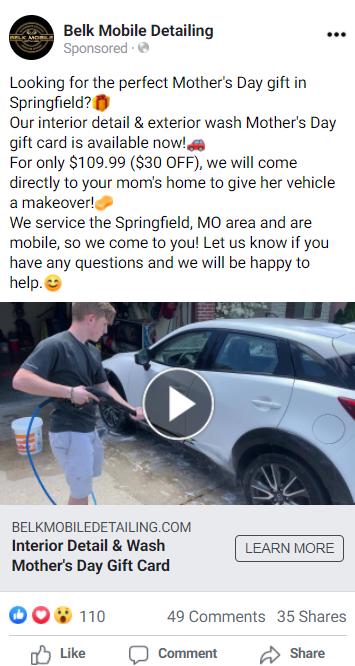 Belk Mobile Mother's Day facebook ad