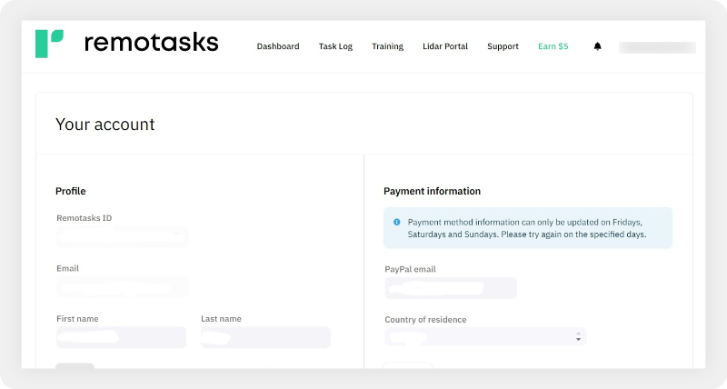 Account page with payment information