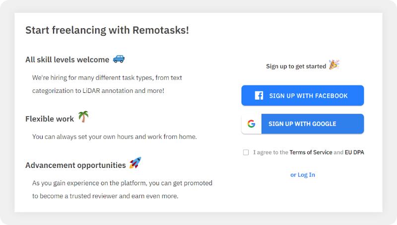 Remotasks sign up page