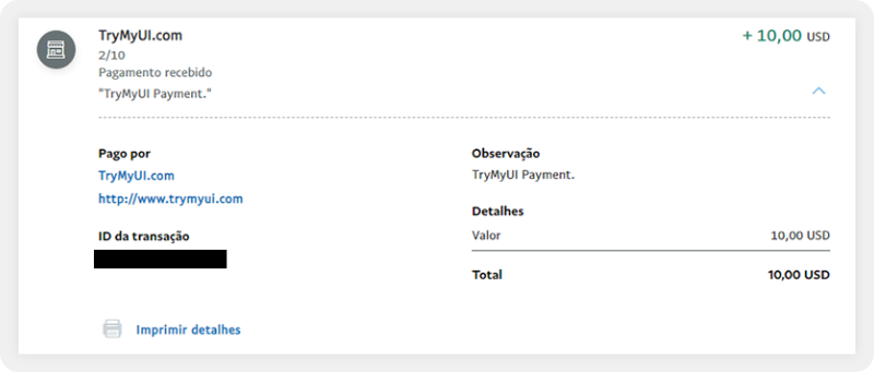 TryMyUI payment proof paypal
