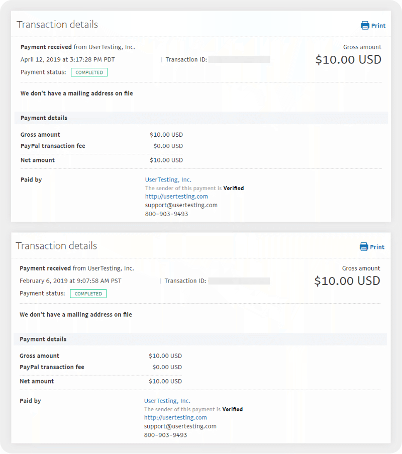 UserTesting payment proofs from PayPal