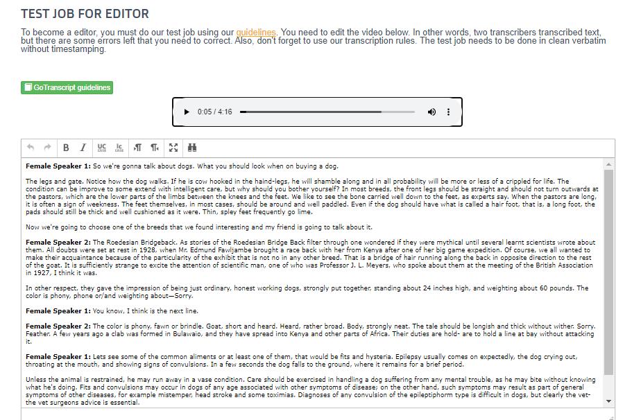 GoTranscript editor test job preview