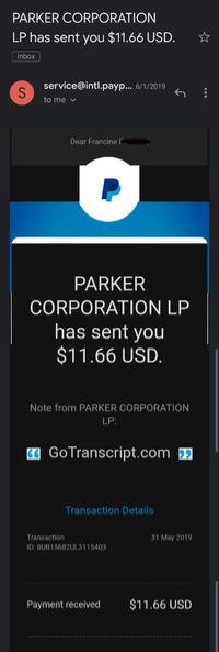 GoTranscript paypal payment proof