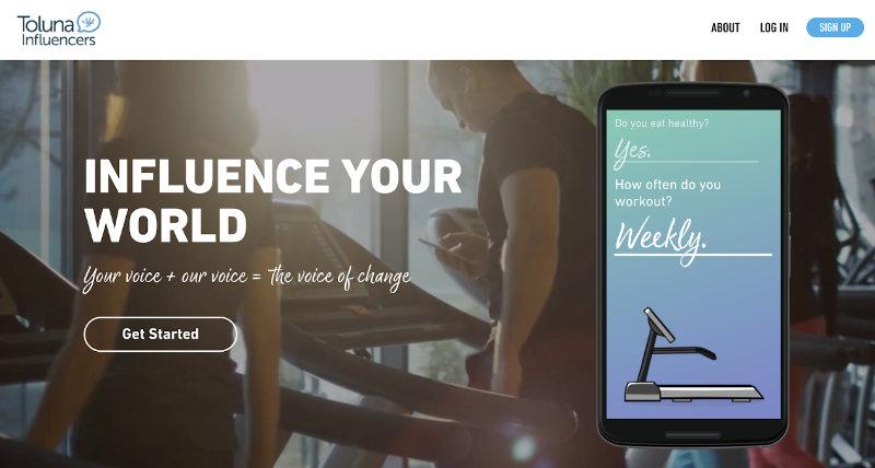 Toluna Influencers homepage