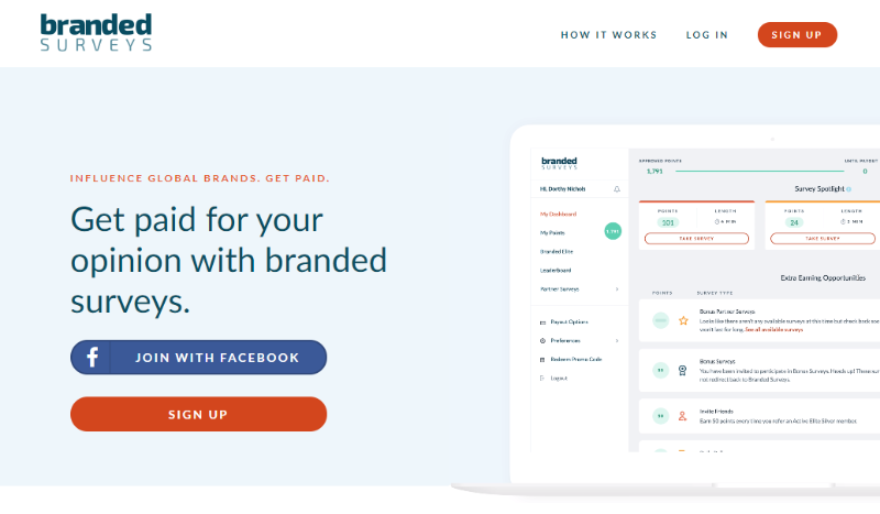 Get paid for your opinion with Branded Surveys