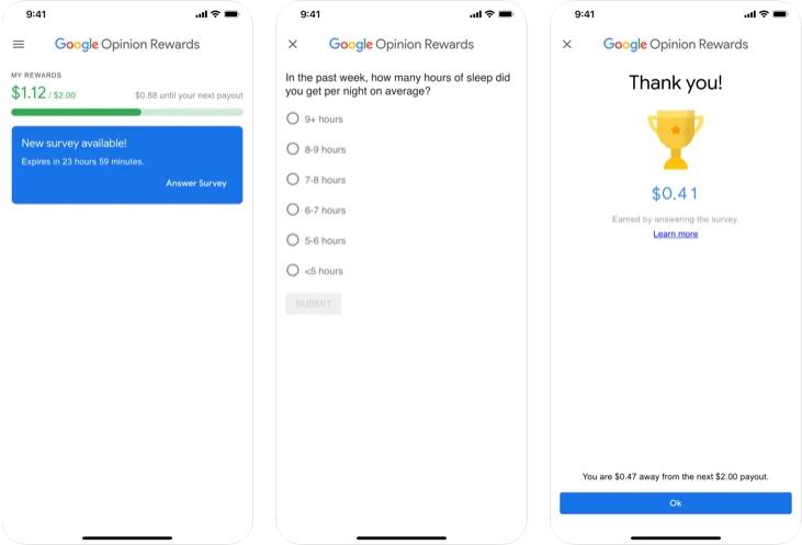 Google opinion Rewards app preview