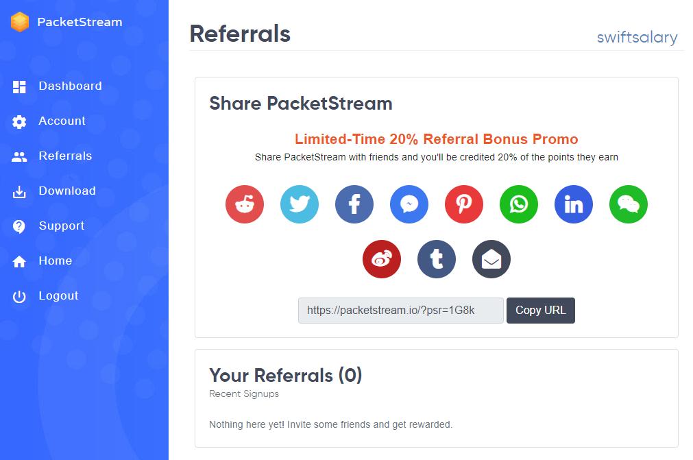 PacketStream referrals dashboard