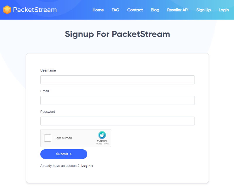 PacketStream sign up page