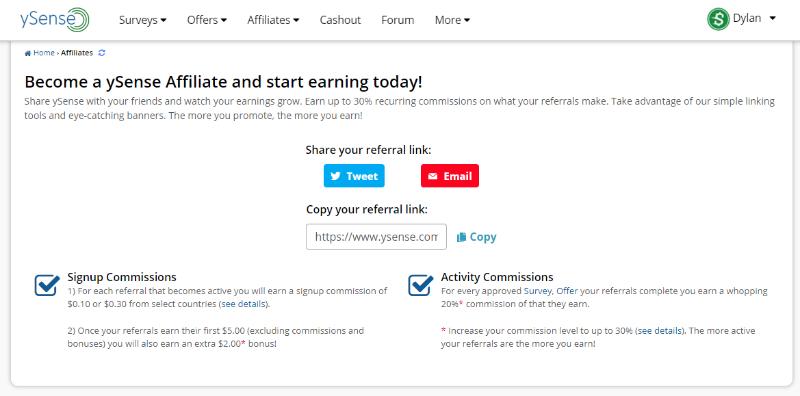 ySense affiliate dashboard