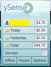 ySense browser add-on interface