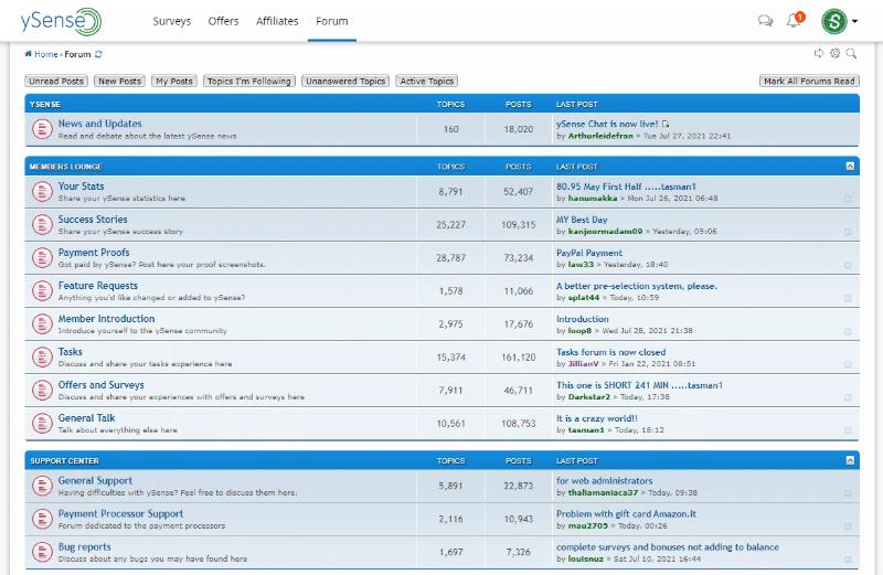 ySense forums homepage