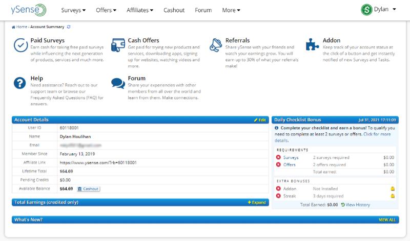 ySense user dashboard