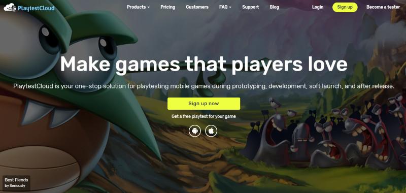 PlaytestCloud home page