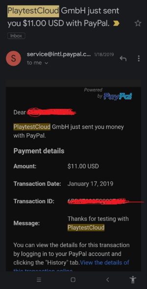 PlaytestCloud payment proof paypal email