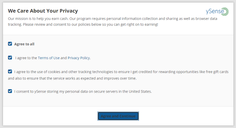 ySense privacy policy notification