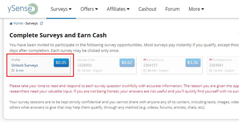 ySense profile survey on surveys dashboard
