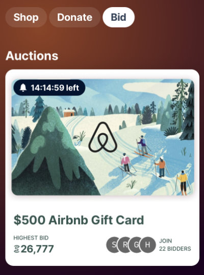$500 Airbnb gift card auction on Sweatcoin