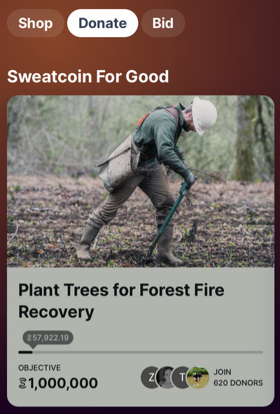 Sweatcoin tree planting campaign