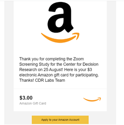 Chicago Center for Decision Research payment proof Amazon